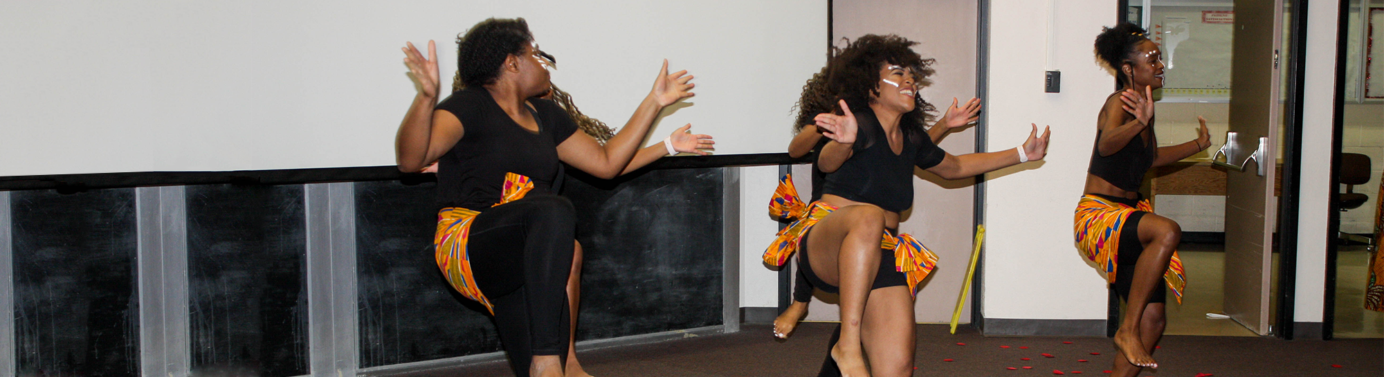 Students from the Pan African Student Society perform an African dance