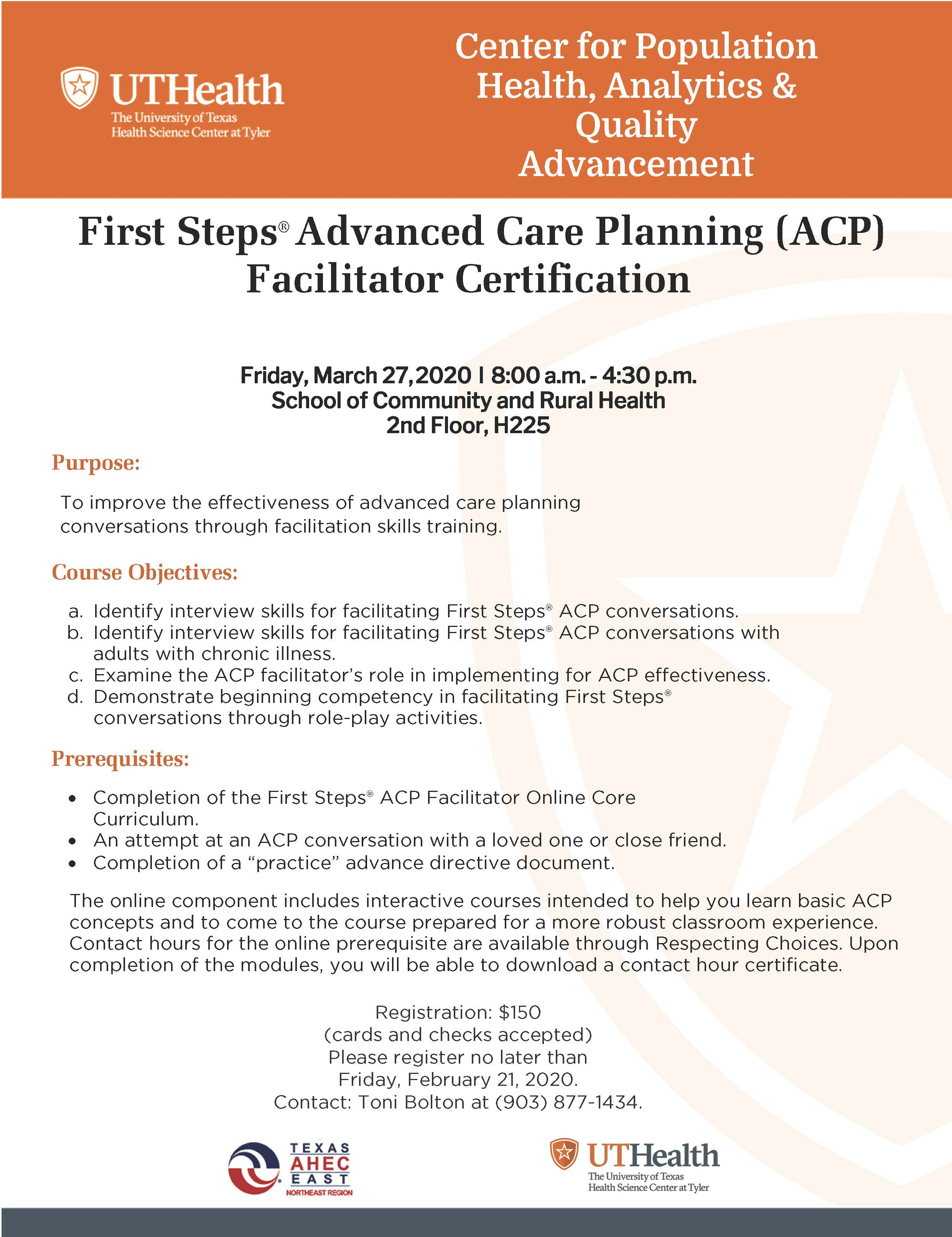 First Steps Advanced Care Planning (ACP) Facilitator Certification