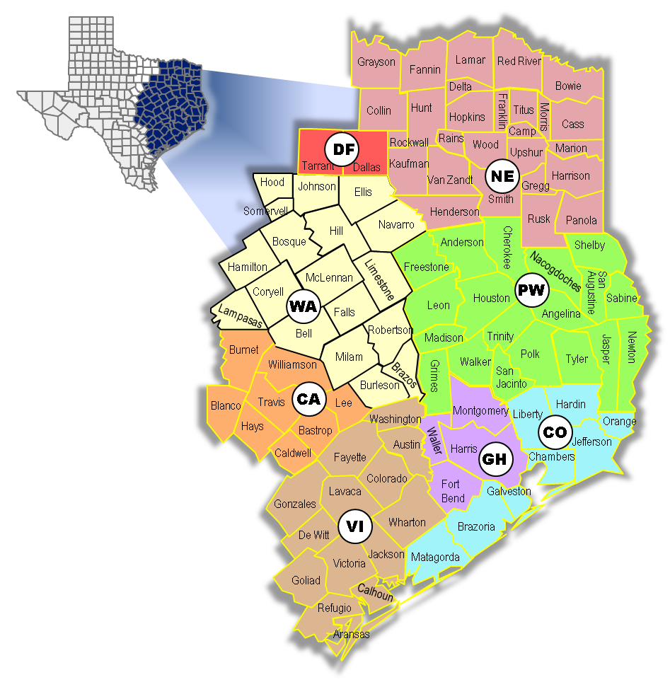Texas AHEC East MAP - portrait 9-2017