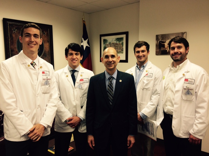 UTMB students with Dr. Greg Bonnen, State Representative from Friendswood and UTMB alum
