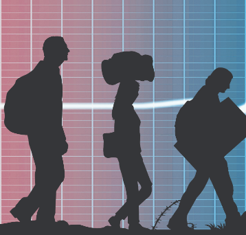 graphic with silhouette of people traveling