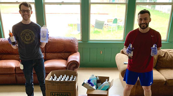 UTMB medical students obtain bottles of hand sanitizer for healthcare professionals