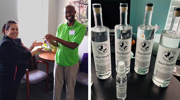 Texas Tail Distillery gives UTMB personal-size sanitizers