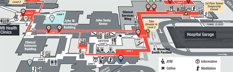 Galveston Hospital Routes and Directions Map