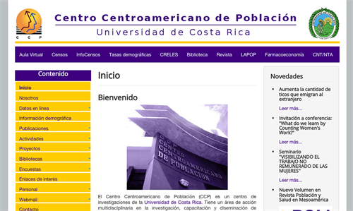 Central American Center of Population website