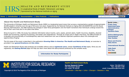Health and Retirement Study website