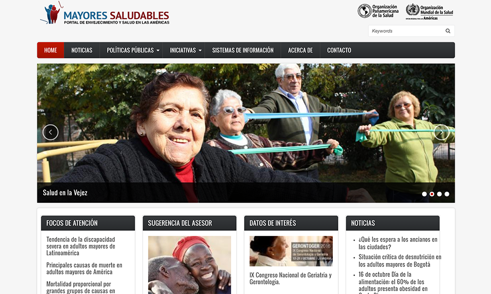 Healhy Older Adults, Aging and Health in the Americas Portal website