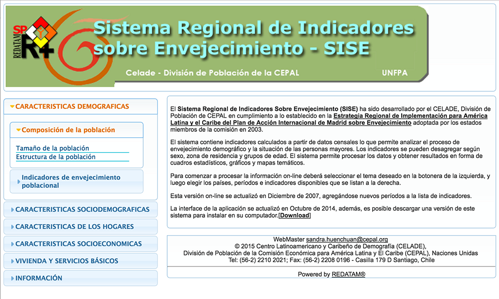 Regional System of Aging Indicators Website