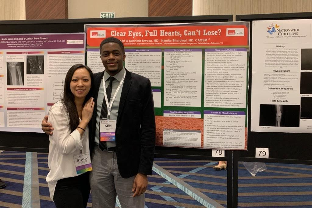 Stacy Leung and KJ Kenneth Nwosa  at the AMSSM Conference 2019