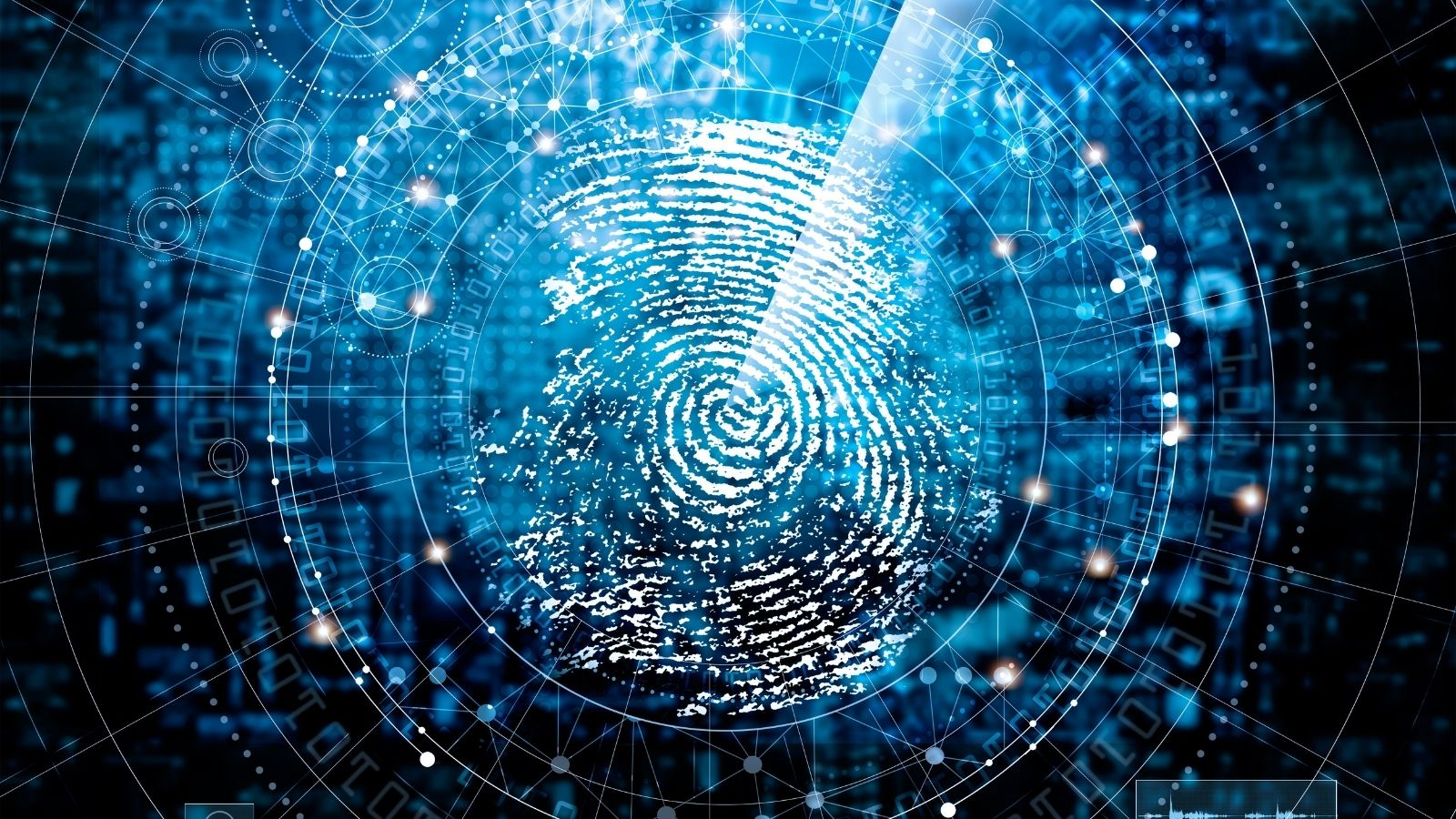 An image of a finger print over blury computer code